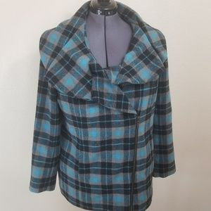 Twiggy London Blue Plaid Zip Up Coat Size 1X